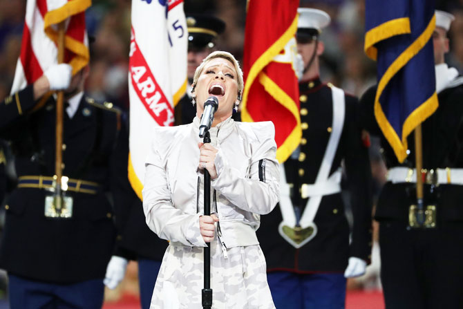 Three-time Grammy winner Pink sings the national anthem prior to Super Bowl LII on Sunday
