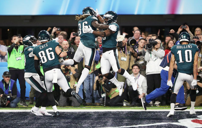 Philadelphia Eagles' Corey Clement celebrates scoring a touchdown with Jay Ajayi