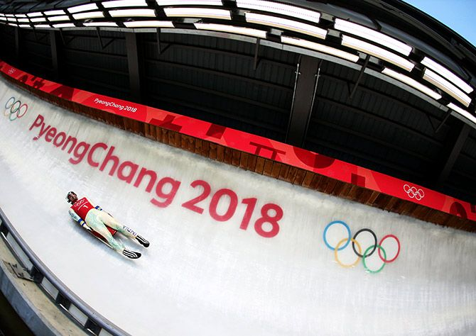 India's Shiva Keshavan slides in a training session during the Men's Luge previews at the Olympic Sliding Centre on Thursday, ahead of the Pyeongchang 2018 Winter Olympic Games in Pyeongchang, in South Korea