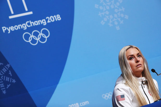 United States' alpine skier Lindsey Vonn attends her press conference at the Main Press Centre during previews ahead of the PyeongChang 2018 Winter Olympic Games in Pyeongchang in South Korea on Friday