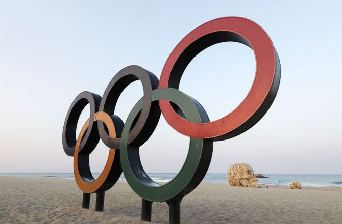 Olympic Rings on Gyeongpo Beach in advance of the Pyeongchang 2018 Winter Olympic Games