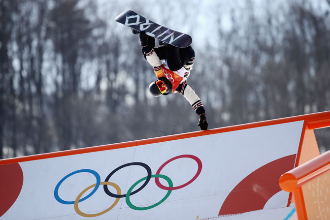 Canada's Tyler Nicholson in action during the Freestyle Skiing Men's Slopestyle final at the PyeongChang 2018 Winter Olympic Games at Pheonix Snow Park in Pyeongchang, South Korea on Sunday