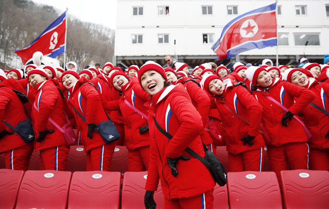 North Korean cheerleaders during the women's slalom at Yongpyong Alpine Centre at Pyeongchang in South Korea on Wednesday