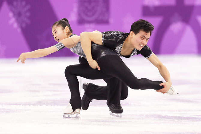 Tae Ok Ryom and Ju Sik Kim of North Korea compete during the Pair Skating Short Program at Gangneung Ice Arena Gangneung, South Korea on Wednesday