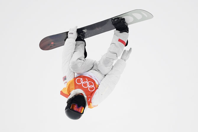 USA's Shaun White competes during the snowboard men's halfpipe final at Phoenix Snow Park in Pyeongchang on Wednesday