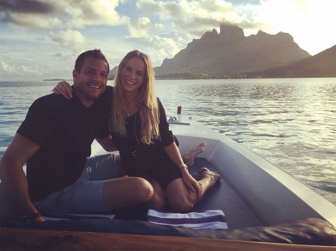 2018 Australian Open champ Caroline Wozniacki with her boyfriend David Lee