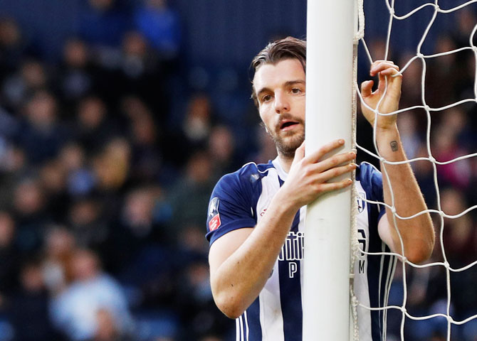 West Bromwich Albion's Jay Rodriguez reacts after teammate Ahmed Hegazi hits the bar during their FA Cup fifth round match against Southampton at The Hawthorns at West Brom on Saturday