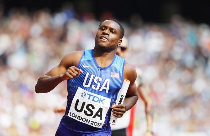 Christian Coleman helped the United States to 4x100m gold at the World Championships in Doha