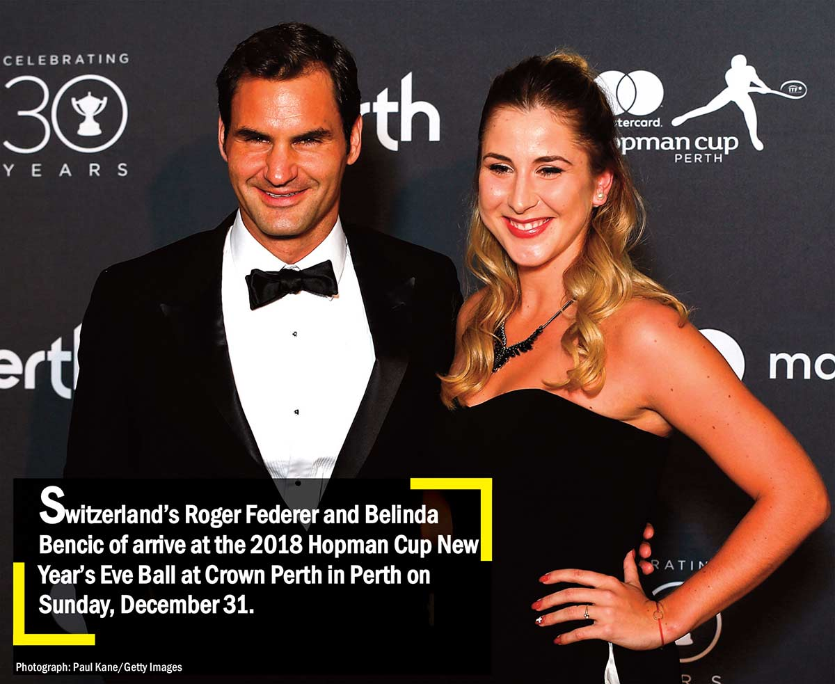 Switzerland's Roger Federer and Belinda Bencic of arrive at the 2018 Hopman Cup New Year's Eve Ball at Crown Perth in Perth on Sunday December 31
