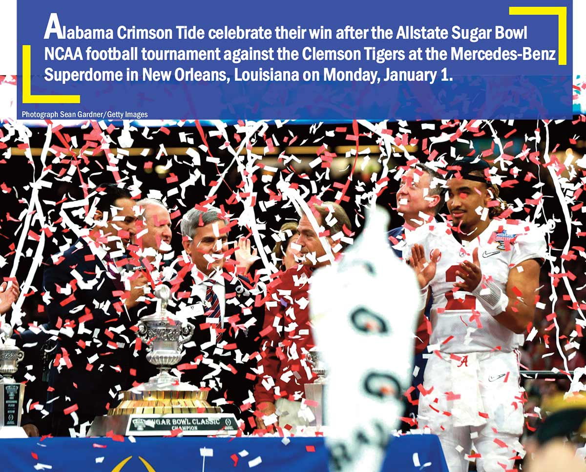 Alabama Crimson Tide celebrate their win after the Allstate Sugar Bowl NCAA football tournament against the Clemson Tigers at the Mercedes-Benz Superdome in New Orleans, Louisiana on Monday, January 1