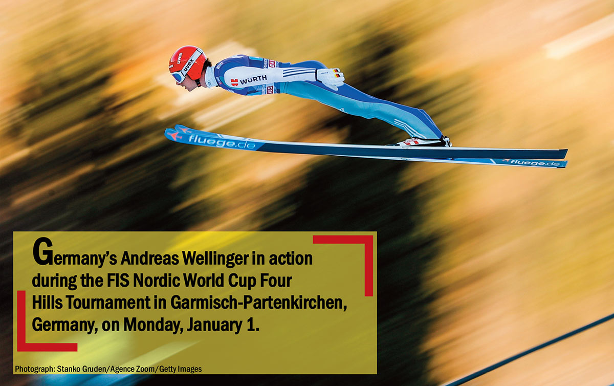 Germany's Andreas Wellinger in action during the FIS Nordic World Cup Four Hills Tournament in Garmisch-Partenkirchen, Germany, on Monday, January 1