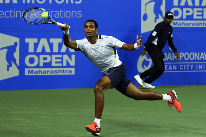 Ramkumar Ramanathan in action against Croat Marin Cilic during his second round match at the Tata Open Maharashtra in Pune on Wednesday