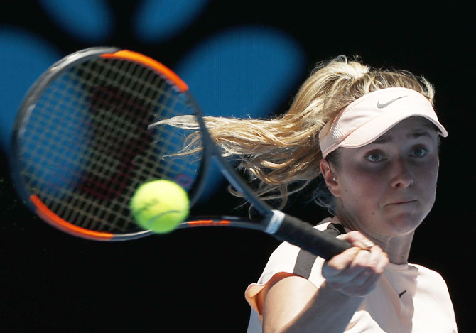 Ukraine's Elina Svitolina hits a shot against Czech Republic's Katerina Siniakova