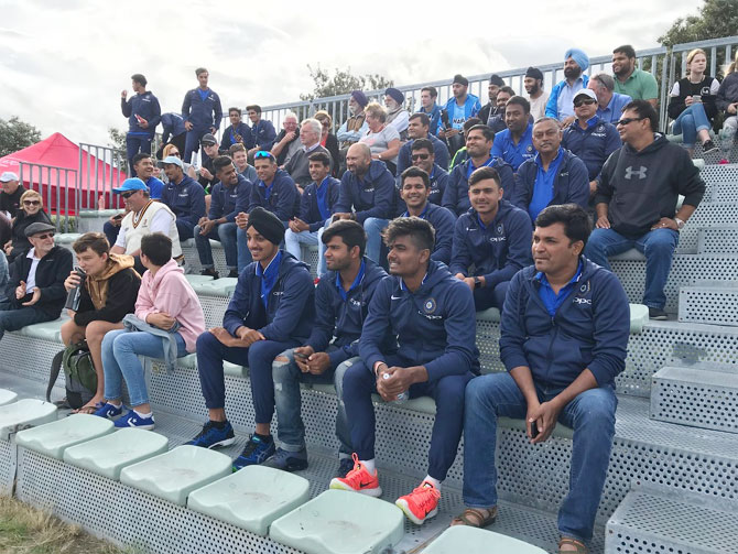 Rahul Dravid along with the India Under-19 squad watch the Indian hockey team in action against Japan in the Four Nations Invitational Tournament in Tauranga, New Zealand on Wednesday