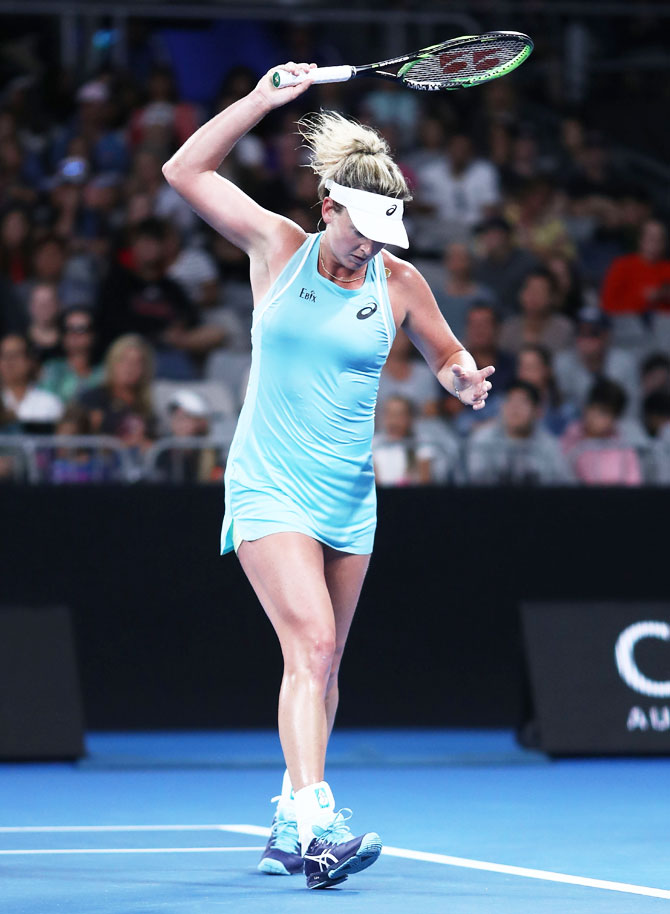CoCo Vandeweghe of the United States shows her frustration