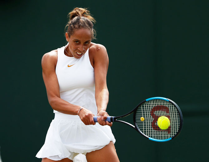 Madison Keys of the US in action during the second round match against Thailand's Luksika Kumkhum on Wednesday