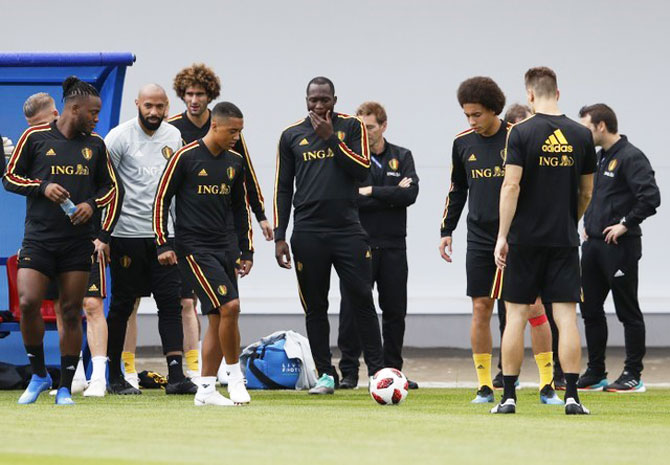 Belgium players at a training session on Sunday