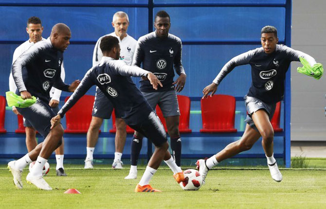 France's players attend a training session on Sunday