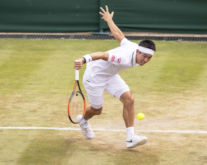 Japan's Kei Nishikori in action during his match against Latvian Ernests Gulbis