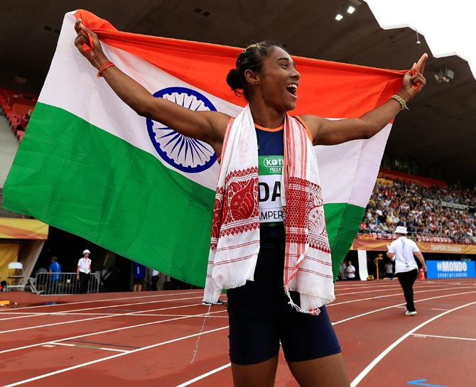 Champion athlete Hima Das, winner, World Championship gold, Asian Games gold and two silver medals. Photograph: Stephen Pond/Getty Images