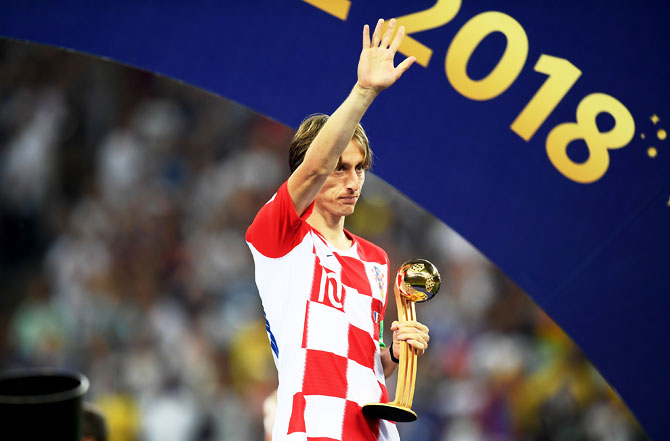 Croatia's Luka Modric wins Golden Ball Award