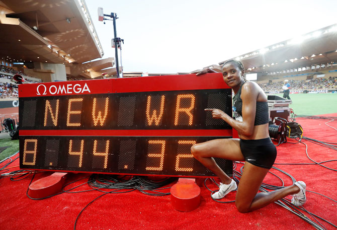 Kenya's Beatrice Chepkoech celebrates winning and in the process setting a new Women's 3000m Steeplechase World Record at the Diamond League in Monaco at Stade Louis II, on Saturday