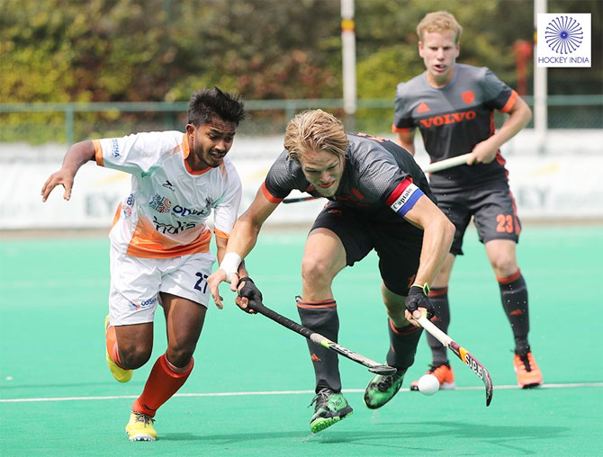 Action from the hockey match between India and The Netherlands at the U-23 Five Nations Tourney in Antwerp