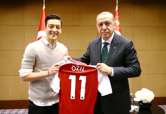 Turkish President Tayyip Erdogan meets with Arsenal's soccer player Mesut Ozil in London, Britain on May 13, 2018