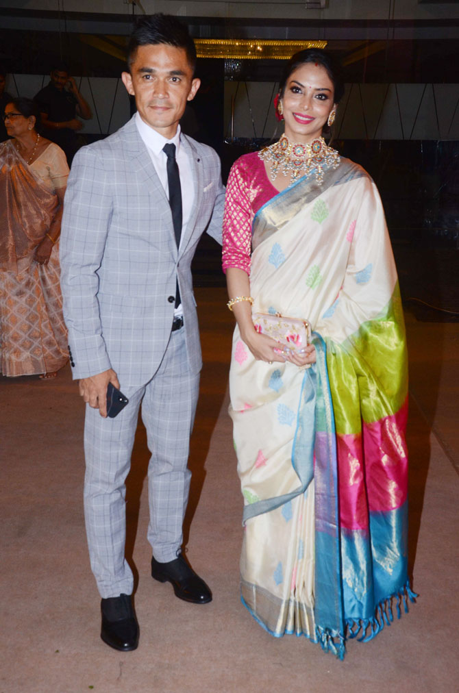 India football captain Sunil Chhetri with wife Sonam Bhattacharya