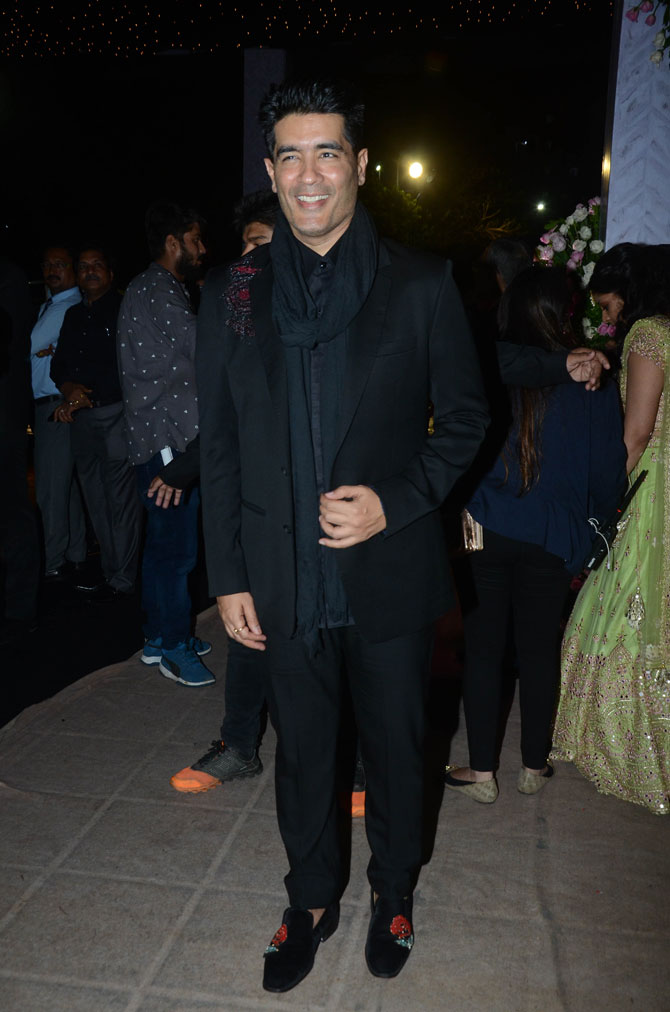 A-list fashion designer Manish Malhotra is all smiles
