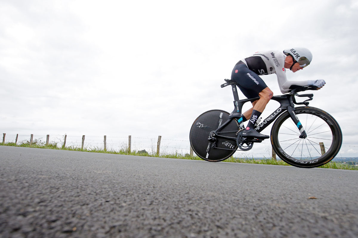Team Sky rider Chris Froome of Britain in action during the 31-km Stage 20 Individual Time Trial from Saint-Pee-sur-Nivelle to Espelette on Saturday