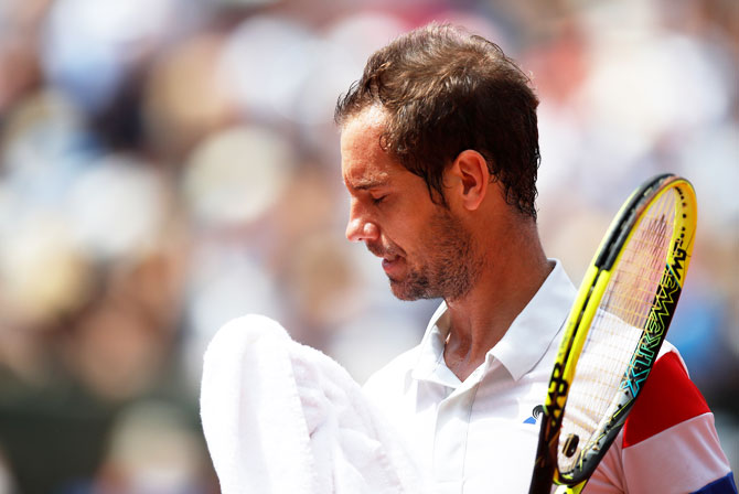 Richard Gasquet during his match against Rafael Nadal