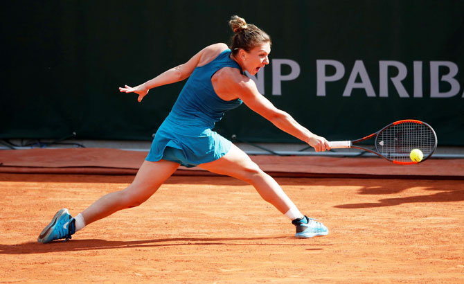 Romania's Simona Halep in action during her third round match against Germany's Andrea Petkovic