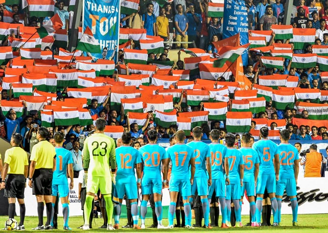 Never before seen scenes for a football game in India as fans thronged the Mumbai Football Arena on June 5, 2018 to cheer the Indian team and its captain Sunil Chettri in his 100th game for the country. Photograph: PTI