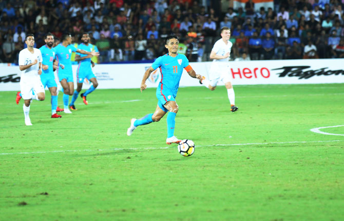 India captain Sunil Chhetri scores against New Zealand on Thursday to take his goal tally to 62
