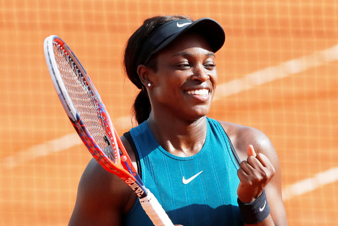 USA's Sloane Stephens celebrates winning her semi-final match against compatriot Madison Keys