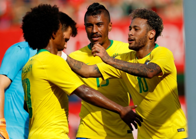 Neymar, along with Gabriel Jesus (left) and Philippe Coutinho, will be crucial to Brazil's fortunes this World Cup