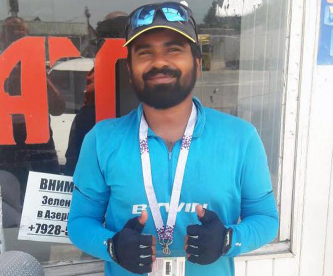 Kerala man cycles 4000km to Russia to watch World Cup