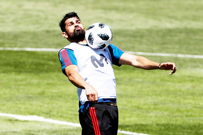 Spain striker Diego Costa at a training session