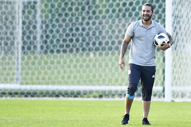 Columbian singer Maluma smiles during a training session at FC Strogino Stadium in Moscow on June 12. He was part of the Columbian team's practice sessions in Russia