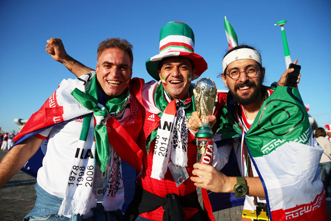 Iran fans before the match between Iran and Spain on Wednesday