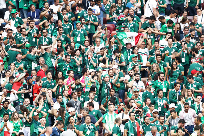 Mexico supporters celebrate during the 2018 FIFA World Cup Group F match against Germany at Luzhniki Stadium in Moscow on Wednesday