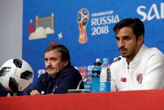 582c46c91 IMAGE  Costa Rica s Bryan Ruiz and coach Oscar Ramirez during the press  conference. Photograph  Henry Romero Reuters