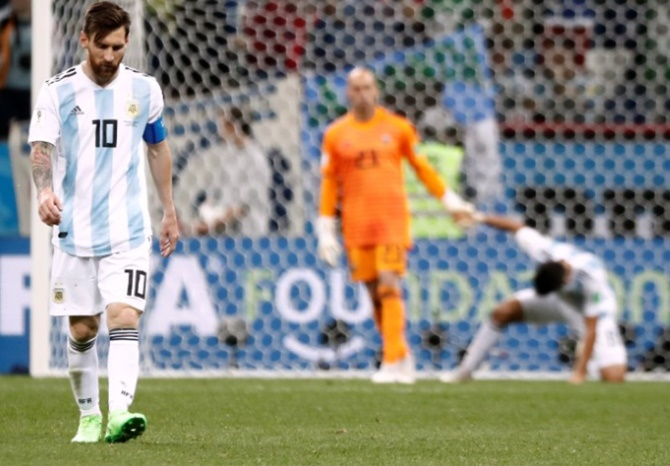 Lionel Messi looked out of sorts during Argentina's 0-3 loss to Croatia. Photograph: Murad Sezer/Reuters