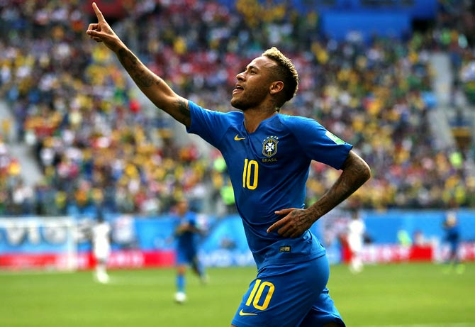 Neymar celebrates after scoring Brazil's second goal against Costa Rica, a game where his show boating earned him much criticism and ridicule. Photograph: Francois Nel/Getty Images