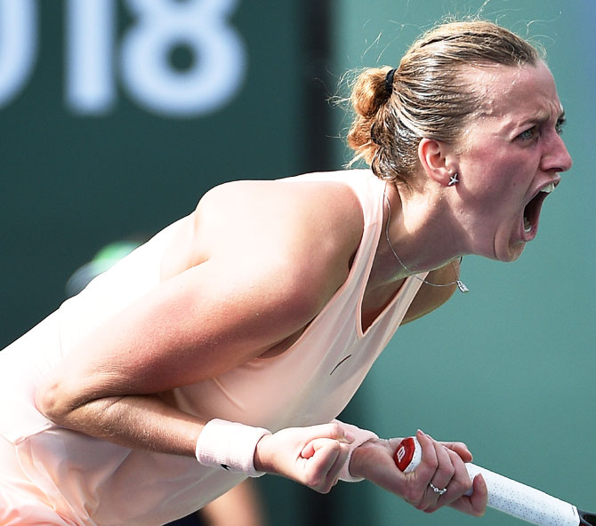 Czech Republic's Petra Kvitova celebrates after defeating Kazakhstan's Yulia Putintseva on Day 5 of the BNP Paribas Open in Indian Wells, California, on Friday