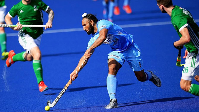 India's Sardar Singh in action during the match against Ireland
