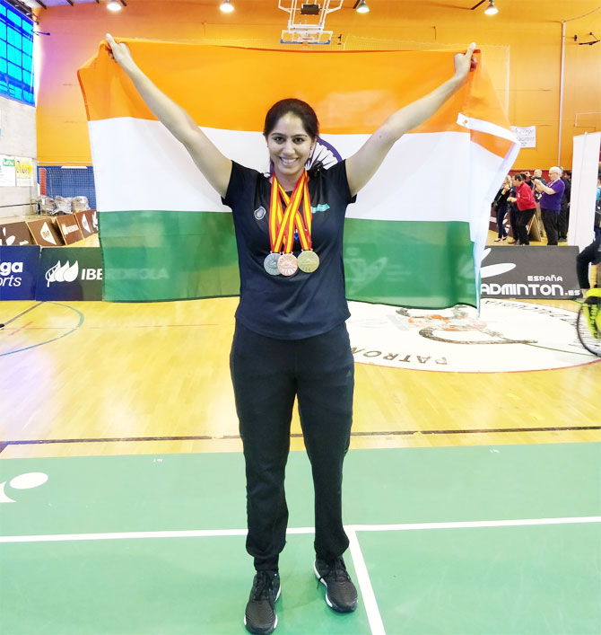 India's para badminton champion, Manasi Joshi shows off her medals at the Para Badminton International in Mallorca, Spain on Sunday