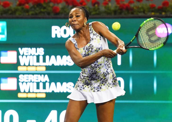 Venus Williams in action against Serena Williams