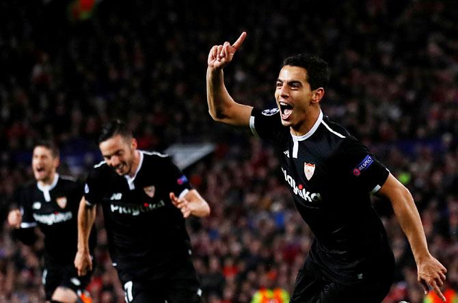 Sevilla's Wissam Ben Yedder celebrates scoring a goal